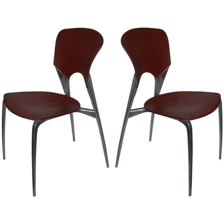Pair Of Sleek Phillipe Stark Leather And Aluminum Side Chairs At 1stdibs