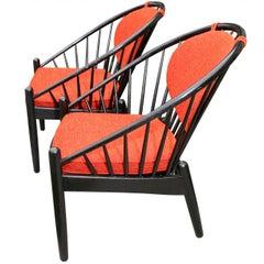 Pair of Mid Century Swedish Bent Beech Wood Hoop Chairs