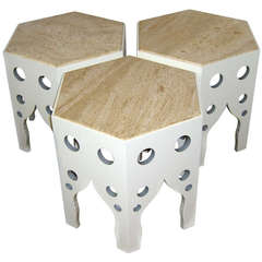 Group of Three Moroccan Style Tile Top Tables in the Manner of Billy Baldwin