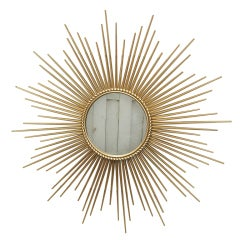 1950's French Gilt Metal Sunburst Mirror by Chaty of Vallauris