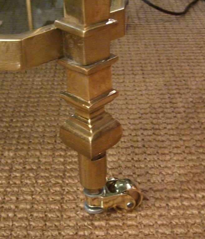 French, 1940s Brass and Glass Serving Table on Casters In Excellent Condition For Sale In Mt Kisco, NY