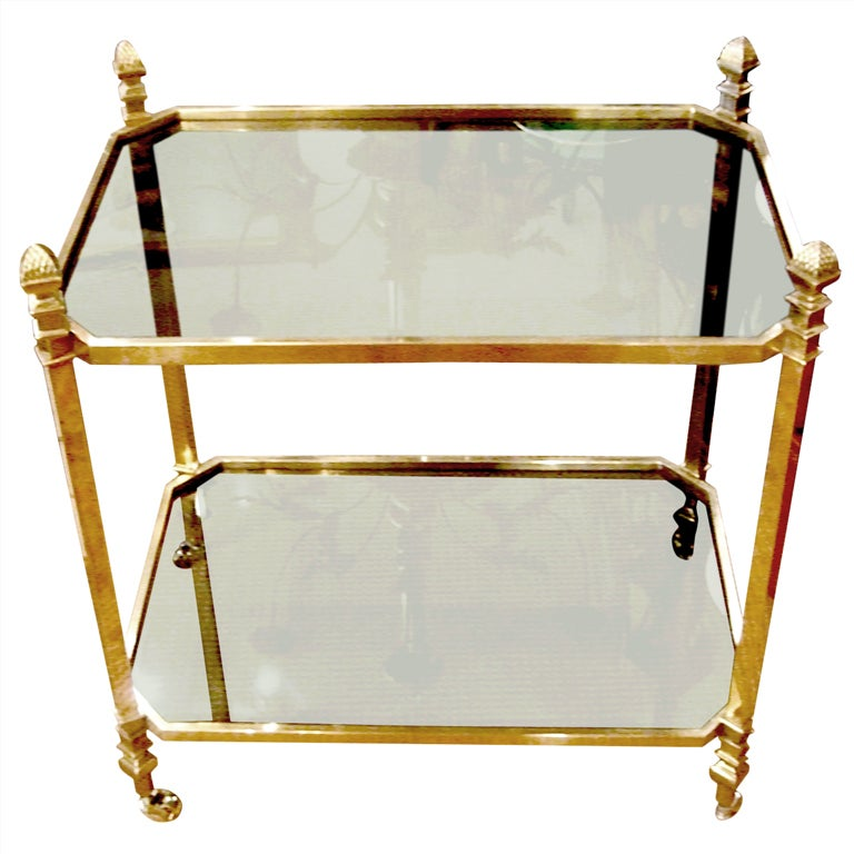 French, 1940s Brass and Glass Serving Table on Casters For Sale