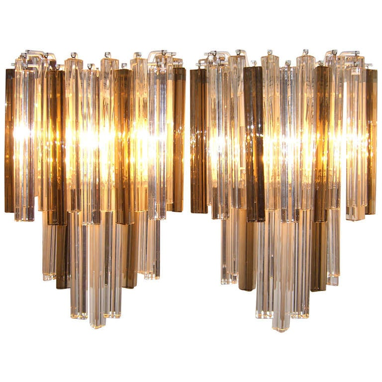 Pair of Large Venini Smoked and Clear Triedri Glass Sconces For Sale