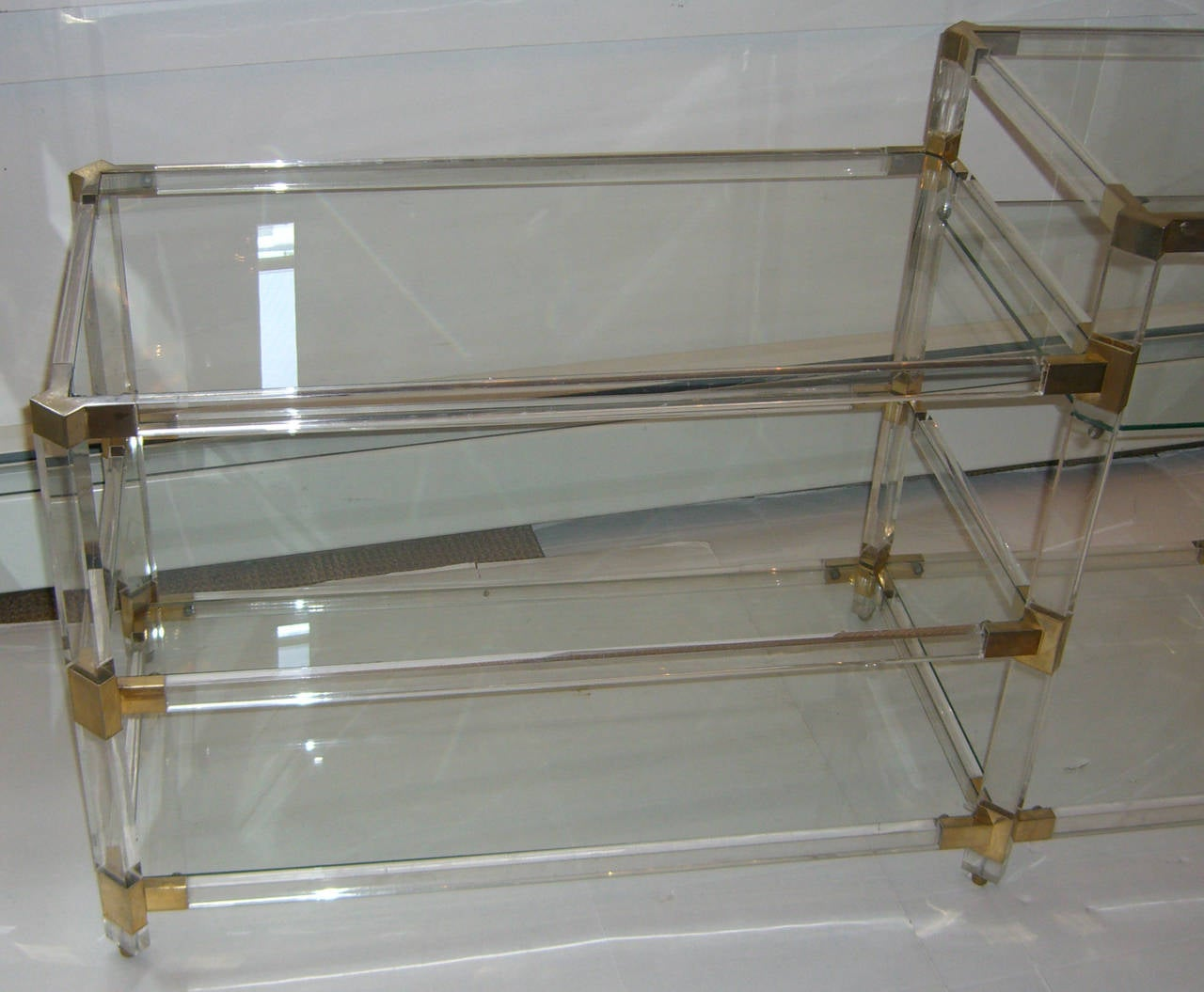 Modern French 1970s Lucite Console with Glass Shelves For Sale