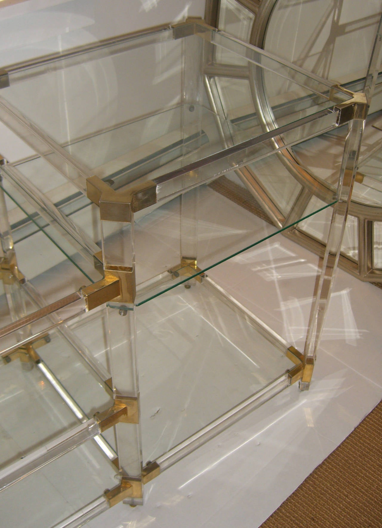 French 1970s Lucite Console with Glass Shelves In Excellent Condition For Sale In Mt Kisco, NY