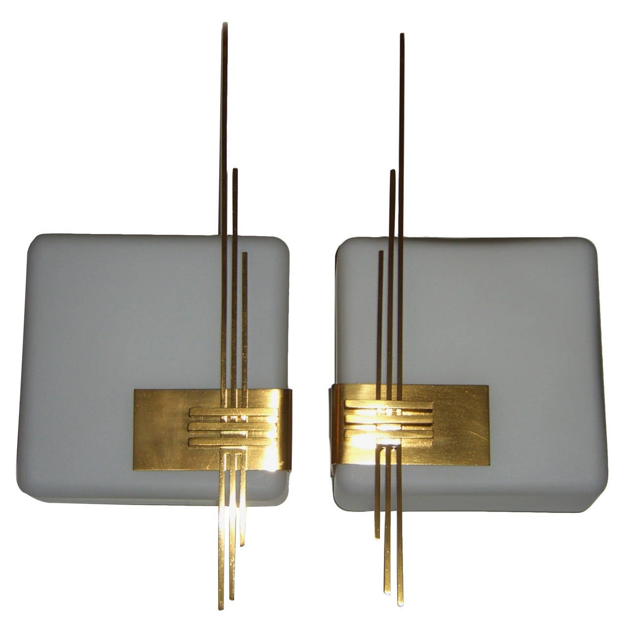 Pair of Mid-Century White Glass Wall Lights with Gold Plated Embellishment For Sale