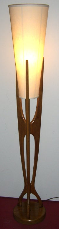 this mid century modern danish style teak wood floor lamp is no longer