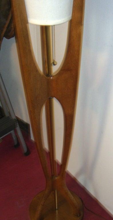 Mid Century Modern Danish Style Teak Wood Floor Lamp At