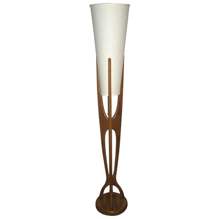 Mid Century Modern Danish Style Teak Wood Floor Lamp For Sale 1