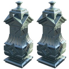 Pair of Large 19th Century Cast Iron NYC Brownstone Newel Posts