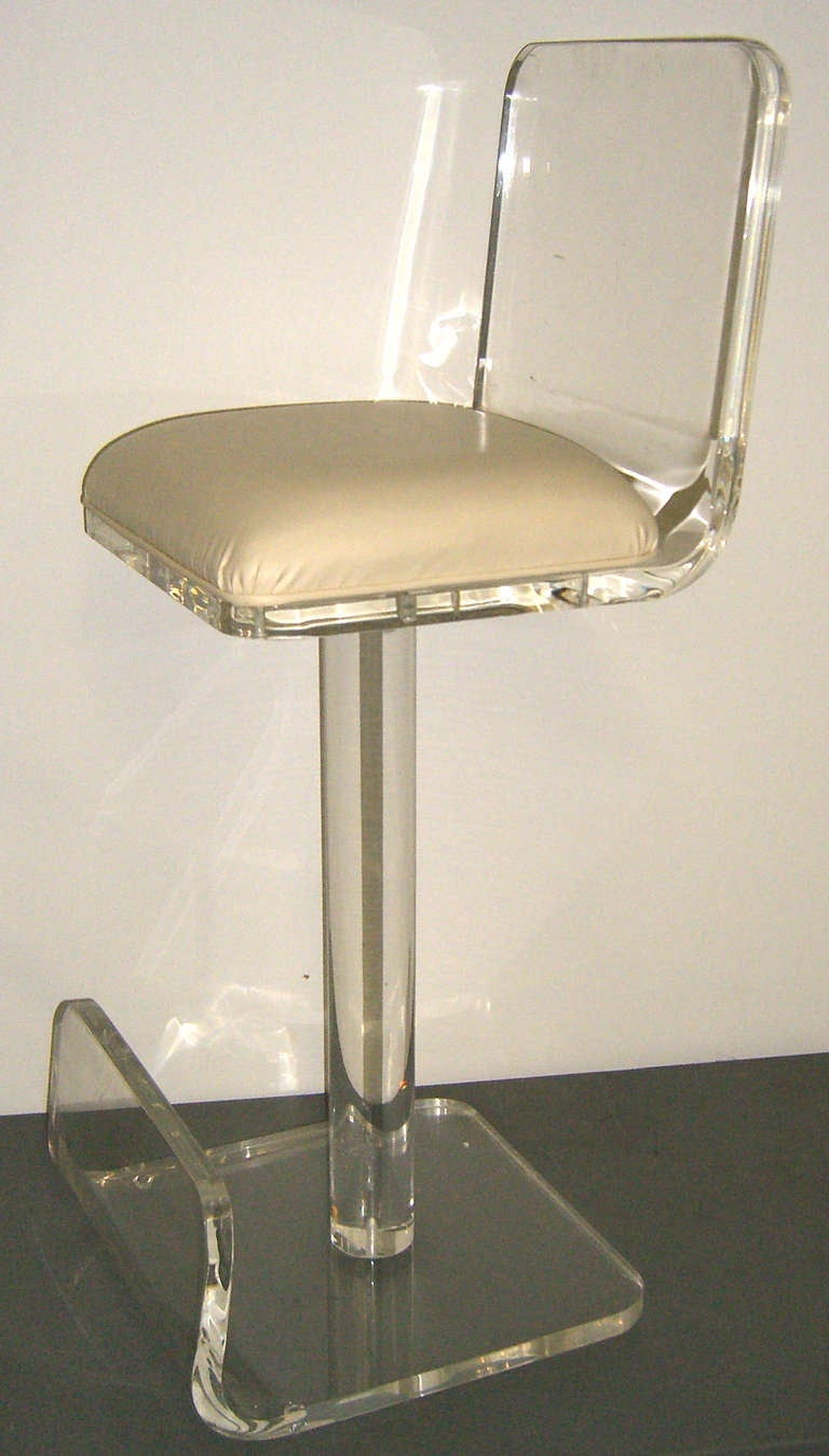 Set of 4 Ultra Cool Lucite Bar Stools at 1stdibs