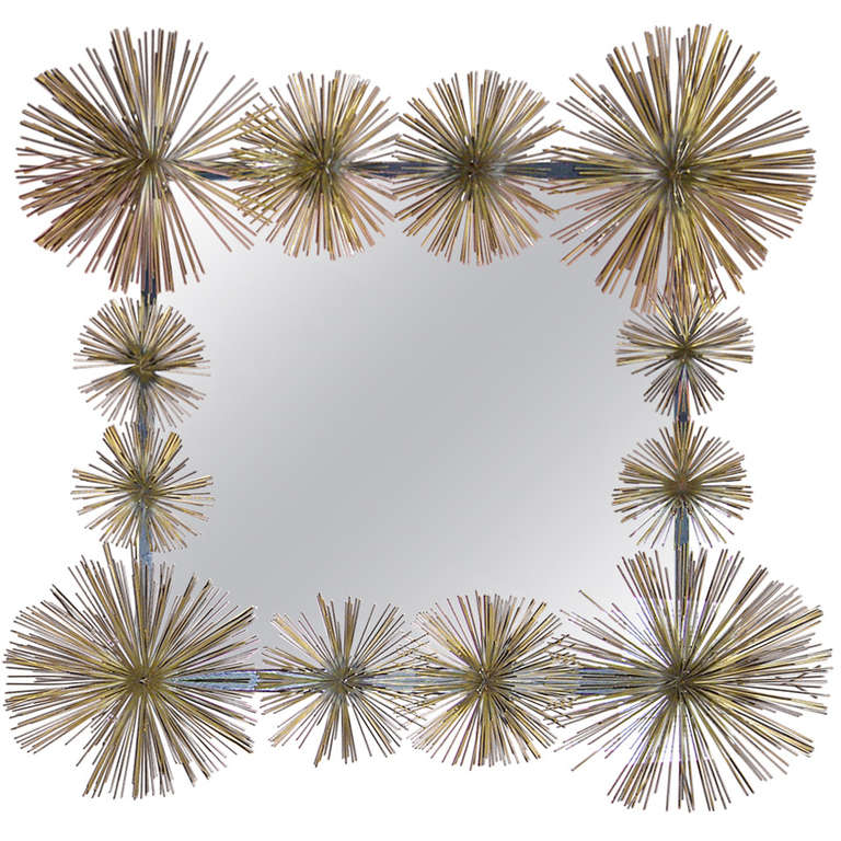 "Striking Handcrafted French Metal ""Pom-Pom"" Wall Mirror For Sale"