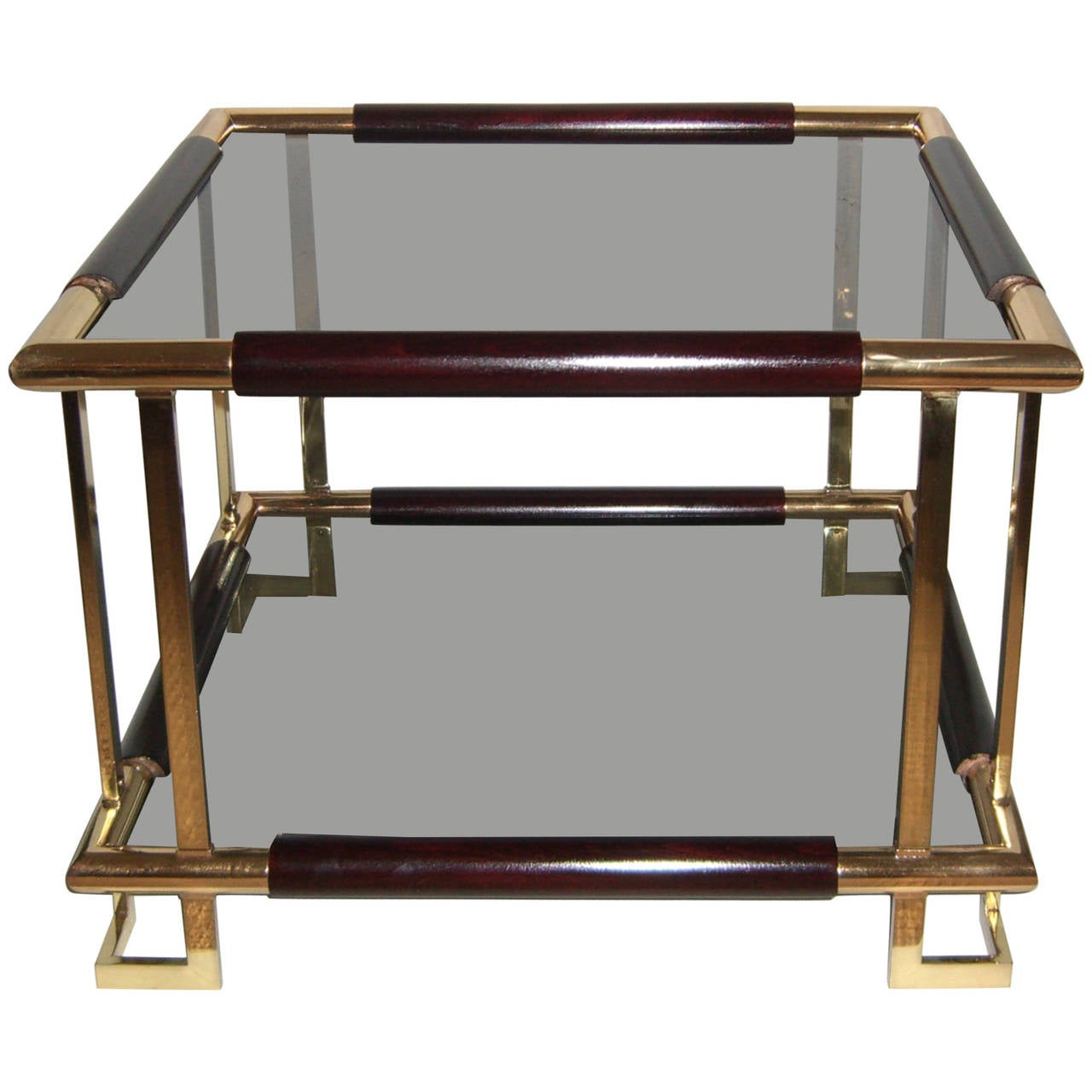 Mid-Century French Brass, Wood and Smoked Glass Side Table For Sale