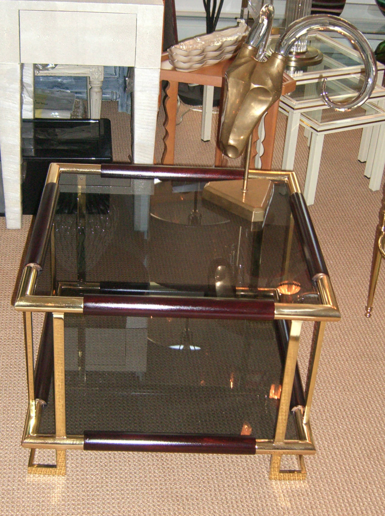 Mid-Century French Brass, Wood and Smoked Glass Side Table In Excellent Condition For Sale In Mt Kisco, NY