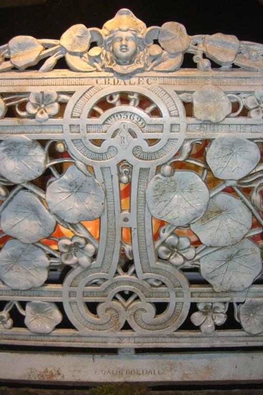 "Rare Coalbrookdale ""Nasturtium"" Pattern Cast Iron Garden Bench image 4"
