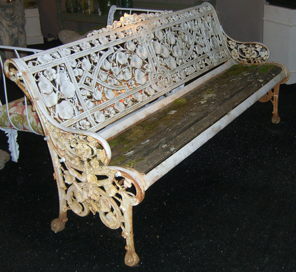 "Rare Coalbrookdale ""Nasturtium"" Pattern Cast Iron Garden Bench image 2"