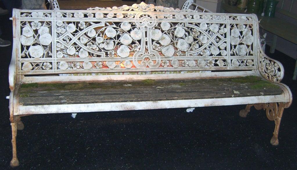 "Rare Coalbrookdale ""Nasturtium"" Pattern Cast Iron Garden Bench image 3"