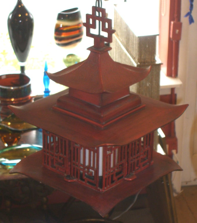 Vintage Iron Indoor/Outdoor Pagoda Hanging Lantern at 1stdibs