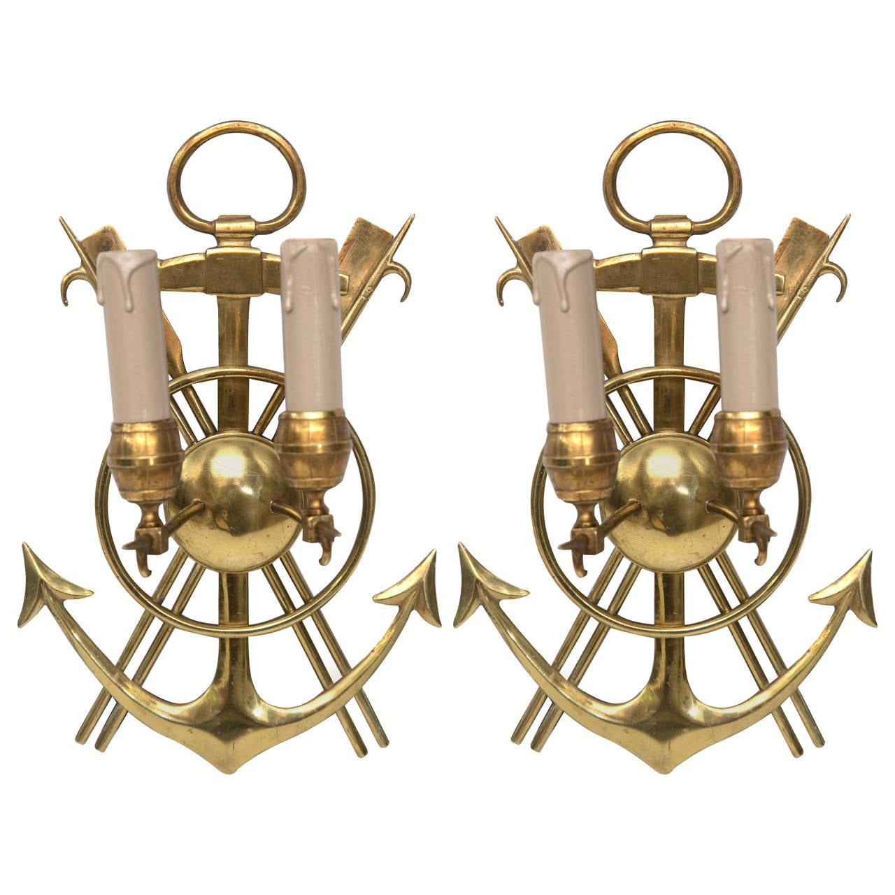 Wall Sconces Nautical: Pair Of Vintage French Solid Brass Nautical Design Wall