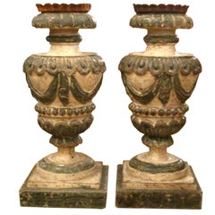 A Pair of Large Italian Carved Wood Candle Holders