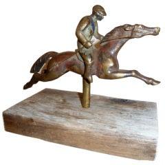 French Painted Brass Horse & Jockey Mounted Figure