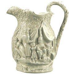 """Mid 19th Century English """"Gypsy"""" Pattern Parian Ware Pitcher"""