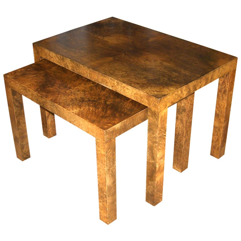 Set Of Burl Wood Nesting Tables By Milo Baughman For
