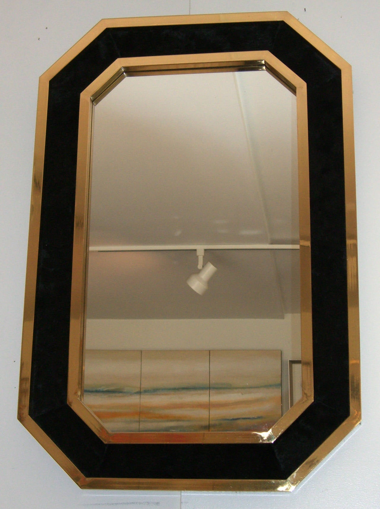 Framed Wall Mirrors vintage french black cowhide and brass framed wall mirror at 1stdibs