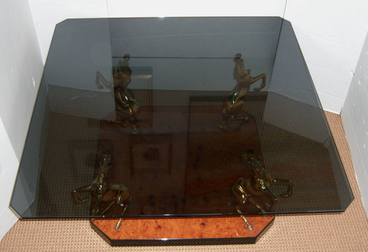 1970s French Brass Stallion Cocktail or Coffee Table 2