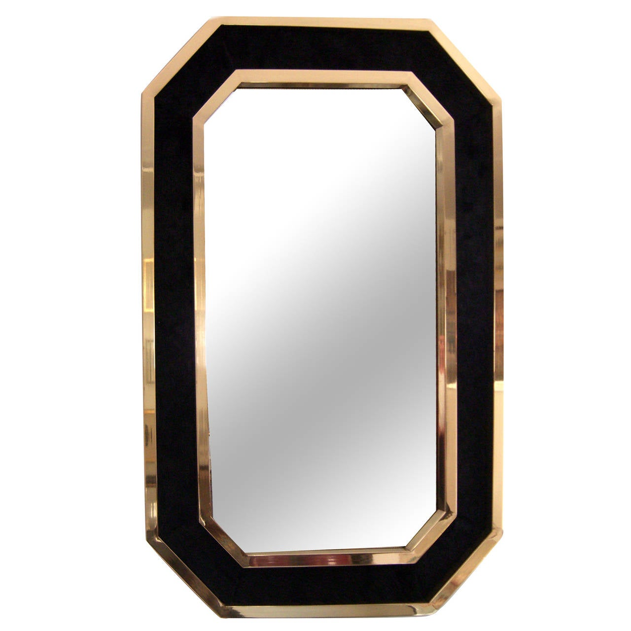 Vintage french black cowhide and brass framed wall mirror for Black wall mirror