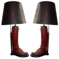 Pair of Antique English Style Riding Boots as Table Lamps