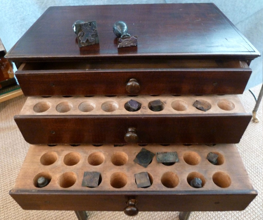 Antique Printers Cabinet with Original Printers Stamps 2 - Antique Printers Cabinet With Original Printers Stamps For Sale At