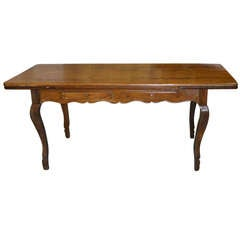 19th Century French Provincial Walnut Expandable Farm Table