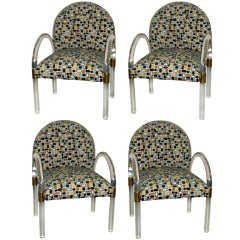 Set of 4 Lucite Arm Chairs in the Manner of Charles Hollis Jones