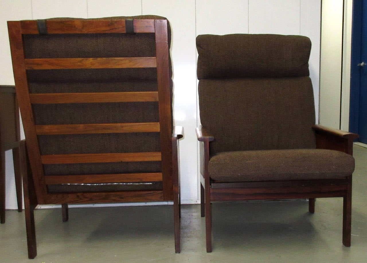 Mid-Century Modern Pair of High Back