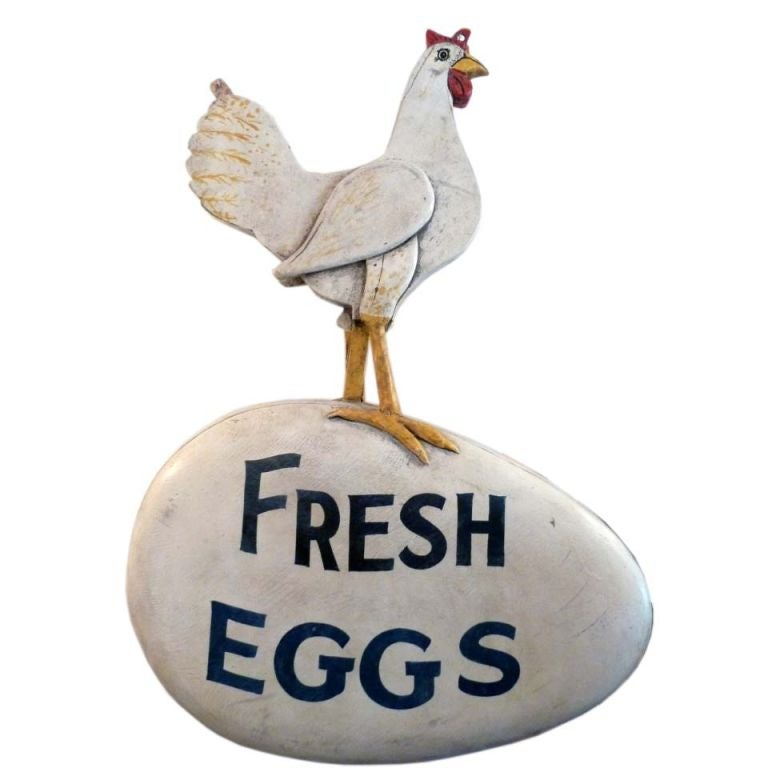 Folk Art Fresh Eggs Advertising Sign At 1stdibs
