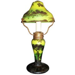 French Art Nouveau Cameo Glass Table Lamp Signed J. Michel Paris