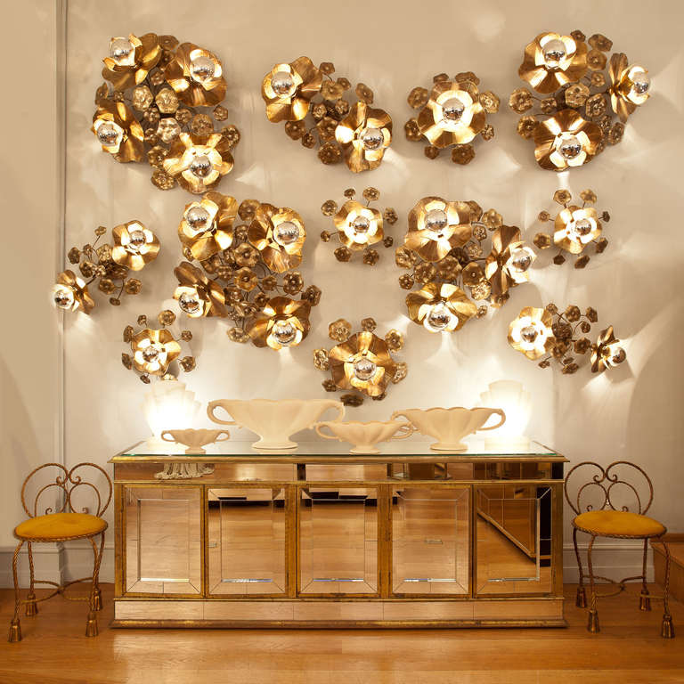 Lotus Flower Light, Triple For Sale at 1stdibs