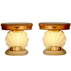 Rare 1940s Italian 'Shell' Bedside Tables