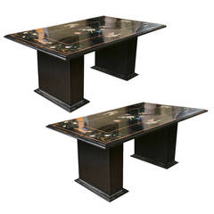 Pair of Pietra Dura Center Tables with Marble Bases, 1970s