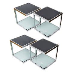 Two Pairs of 1950s Chrome Side Tables