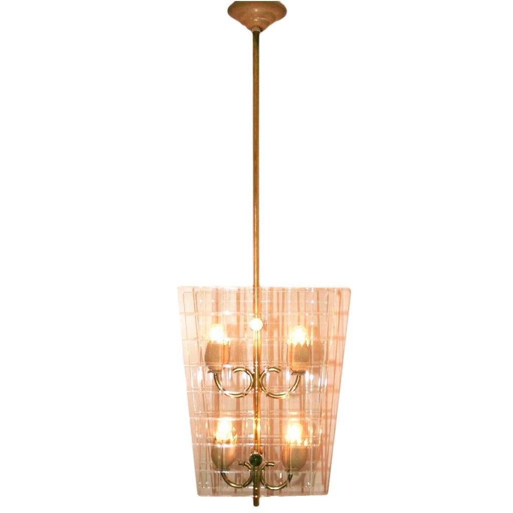 fontana arte 39 lantern 39 chandelier at 1stdibs. Black Bedroom Furniture Sets. Home Design Ideas