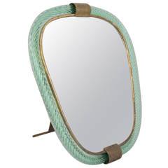 1950s Barovier e Toso Pale Green Mirror