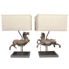 Fierce Pair Horse Lamps