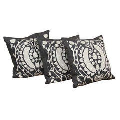 Charcoal And White Suzani Pillows