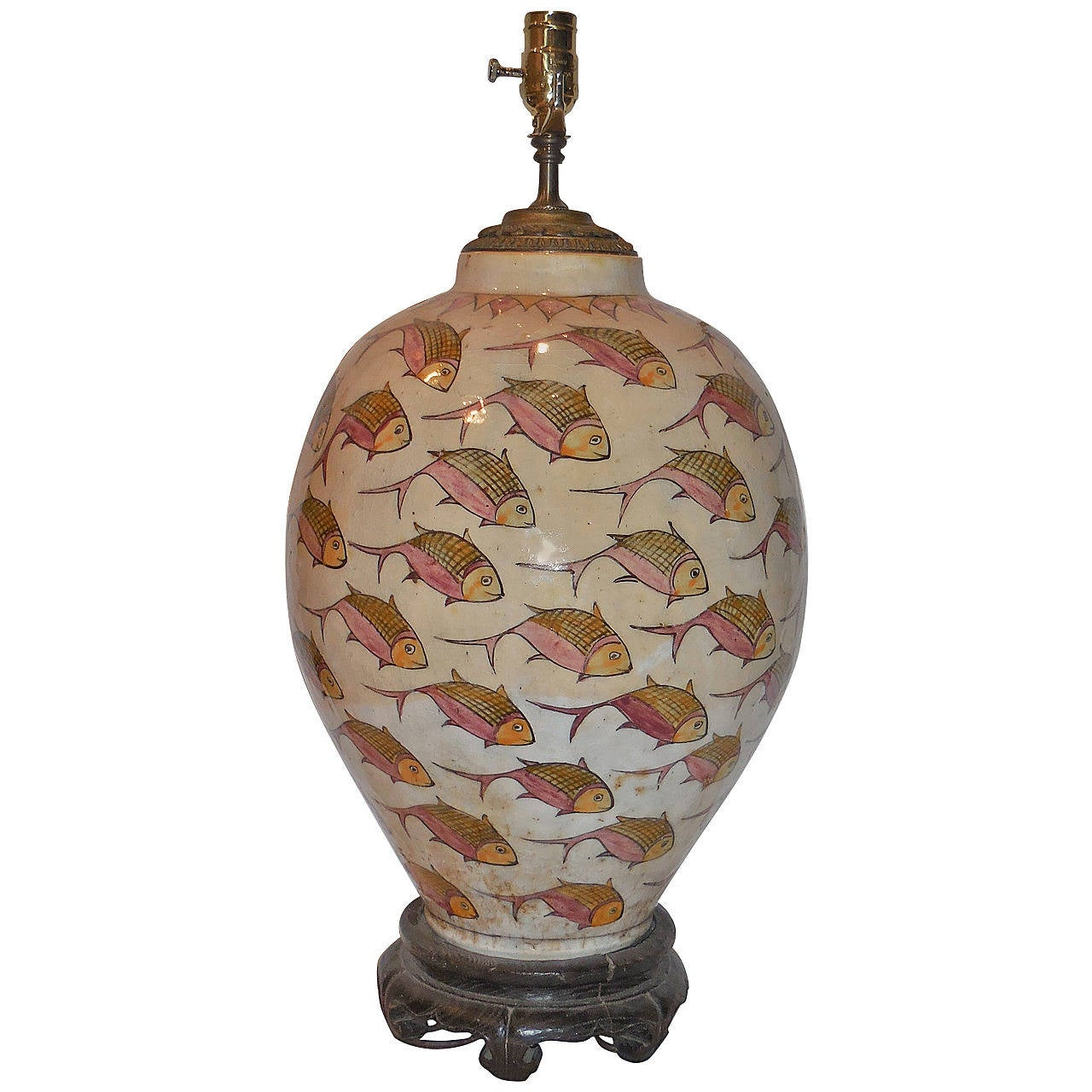 Large 1960s Hand Painted Ceramic Table Lamp At 1stdibs