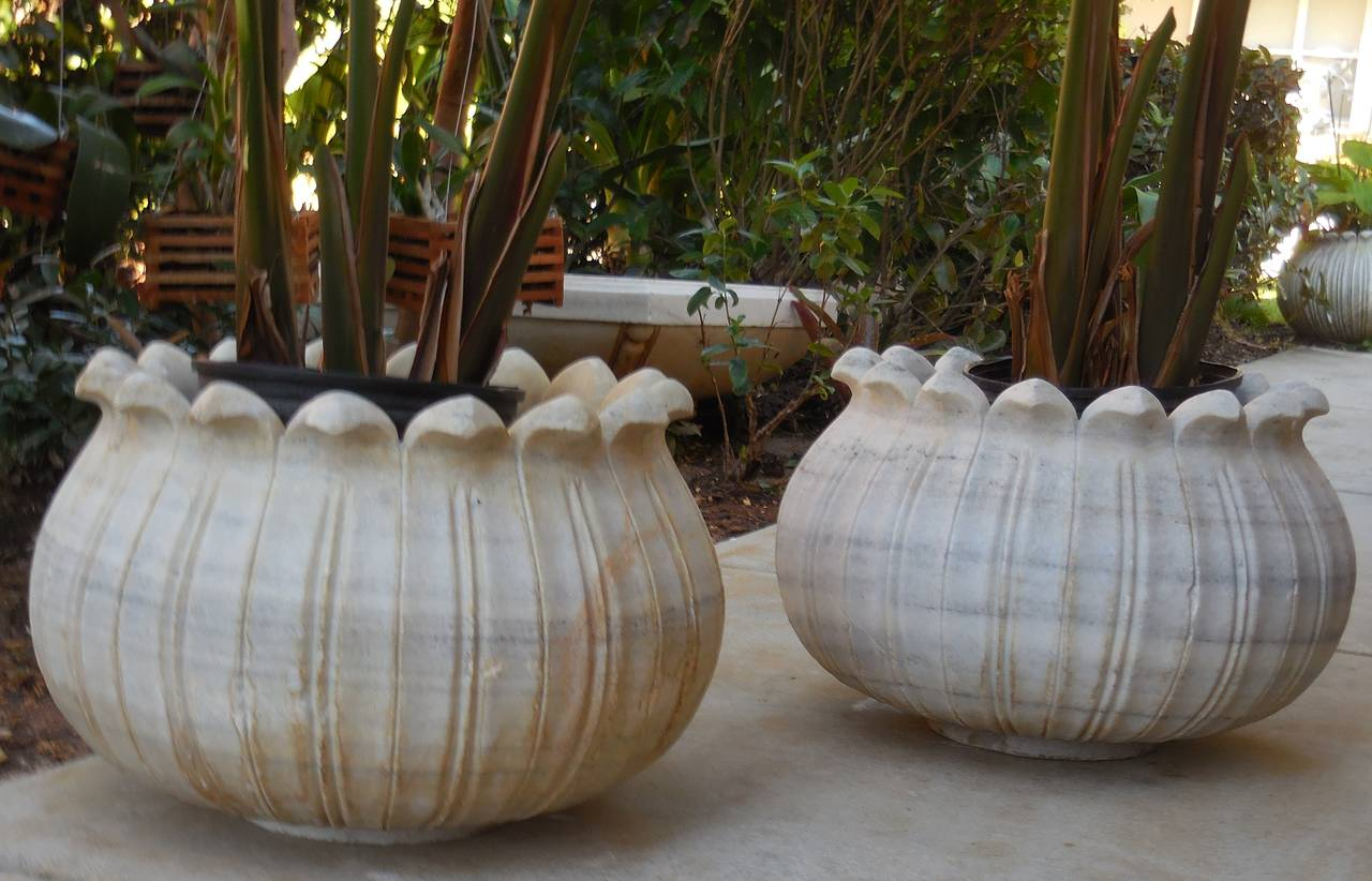 Head Planter Pots For Sale Pair Of Tulip Marble Jardinieres At 1stdibs