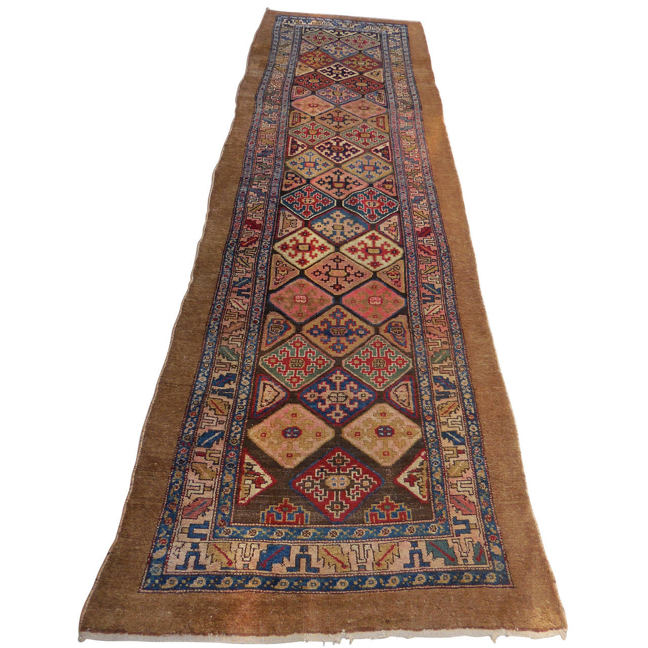 Camel Wool Serb Runner With Stylized Borders Rug At 1stdibs