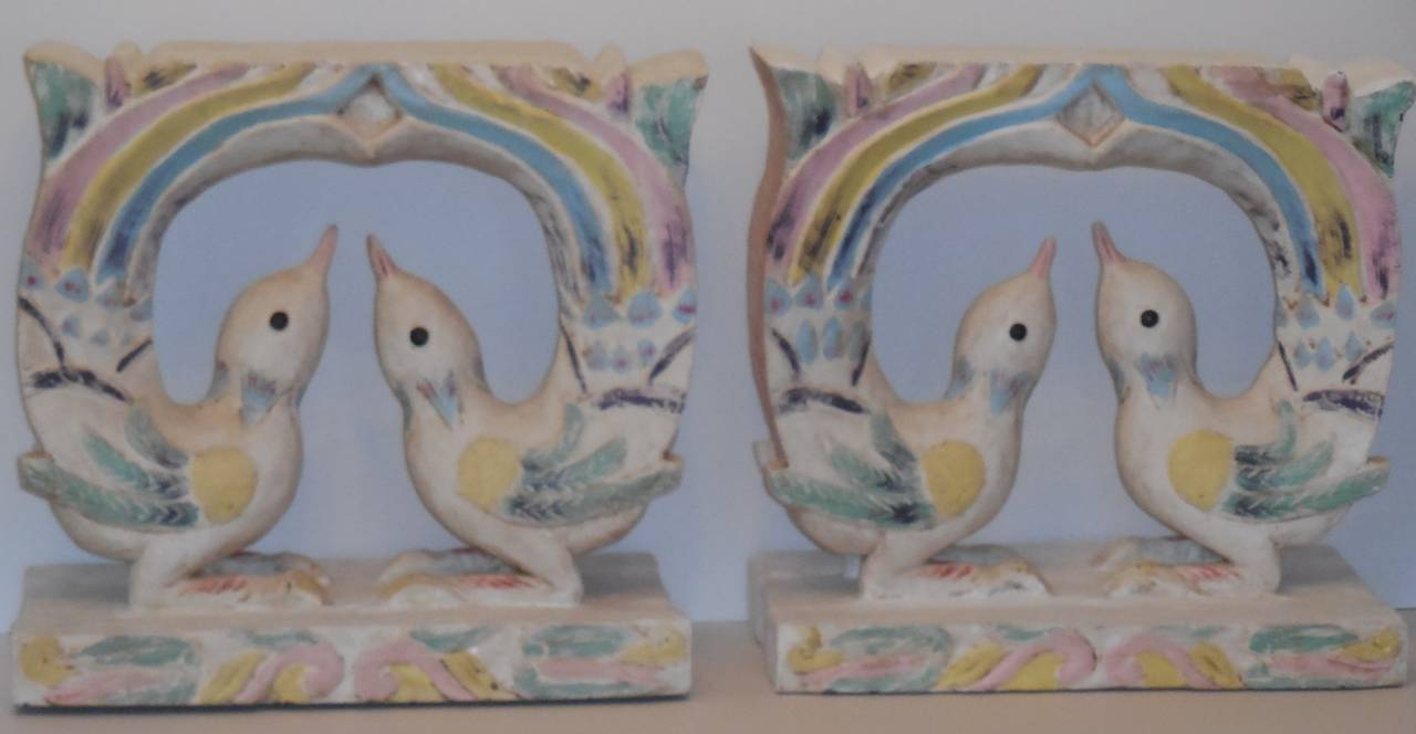 Pair Of Wood Carved Dove Sculptures At 1stdibs