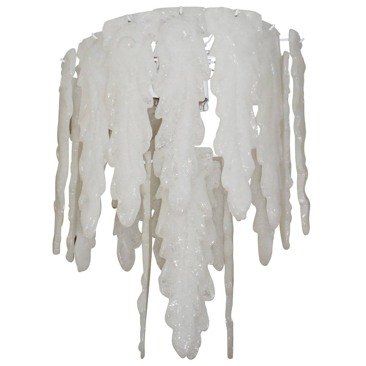 White Frosted Glass Murano Chandelier